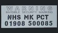 security marking shiny surfaces