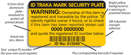 Security Marking Plates